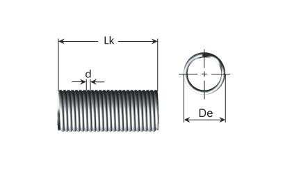 Zugfedern aus pianodraht - Technische Zeichnung