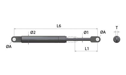 Gasfedern - Angeschweißte Augen - Technische Zeichnung