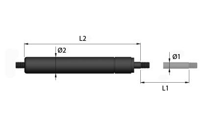 Technische Zeichnung - Gaszugfedern